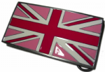 PINK UNION JACK FLAG BELT BUCKLE + display stand